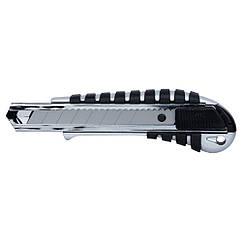 Нож строительный (корпус метал/резина) лезвие 18мм автоматический замок SIGMA (8211041)