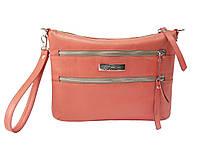 Кожаная сумка-клатч коралловая