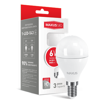 Лампа LED G45 F 6W 3000K 220V E14 (1-LED-543)