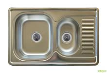 Мойка 7850D, врезная 780х500х180 Сатин 0,8 см (без отверстия под смеситель) Platinum
