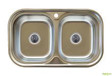 Мийка 7848D, врізна Заокругл. 780х480х180 Сатин 0,8 см (з отвором під змішувач) Platinum