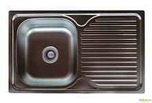 Мийка 7848, врізна Прямокутна 780х480х180 МикроДекор 0,8 см (без отвору під змішувач) Platinum