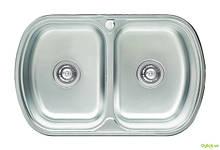 Мойка 7749D, врезная 770х490х180 Декор 0,8 см (с отверстием под смеситель) Platinum