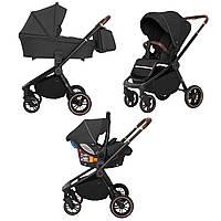 Детская универсальная коляска Carrello Epica 3в1 на черной раме автокресло дождевик москитная сетка