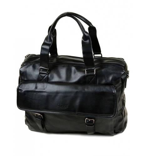 Вместительная сумка мужская дорожная из кожезаменителя dr.Bond, 88257 black, черная