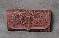 """Кожаный бордовый кошелек ручной работы с тисненым орнаментом """"Триполье"""""""
