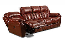 Шкіряний, чотиримісний, розкладний диван Бостон з реклайнером, фото 3