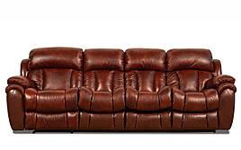 Кожаный, четырехместный, раскладной диван Бостон с реклайнером