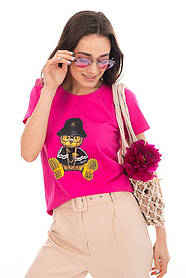 Жіноча яскрава футболка з мишком , ведмедиками, ведмежонком