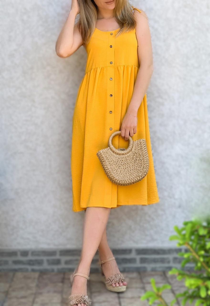 Женское платье свободного кроя с декоративными пуговицами, длиною миди, 00886 (Горчичный), Размер 48 (XL)