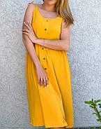Женское платье свободного кроя с декоративными пуговицами, длиною миди, 00886 (Горчичный), Размер 48 (XL), фото 2