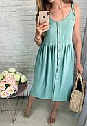 Легкое женское платье на тонких бретелях свободного кроя, 00889 (Мятный), Размер 46 (L), фото 2