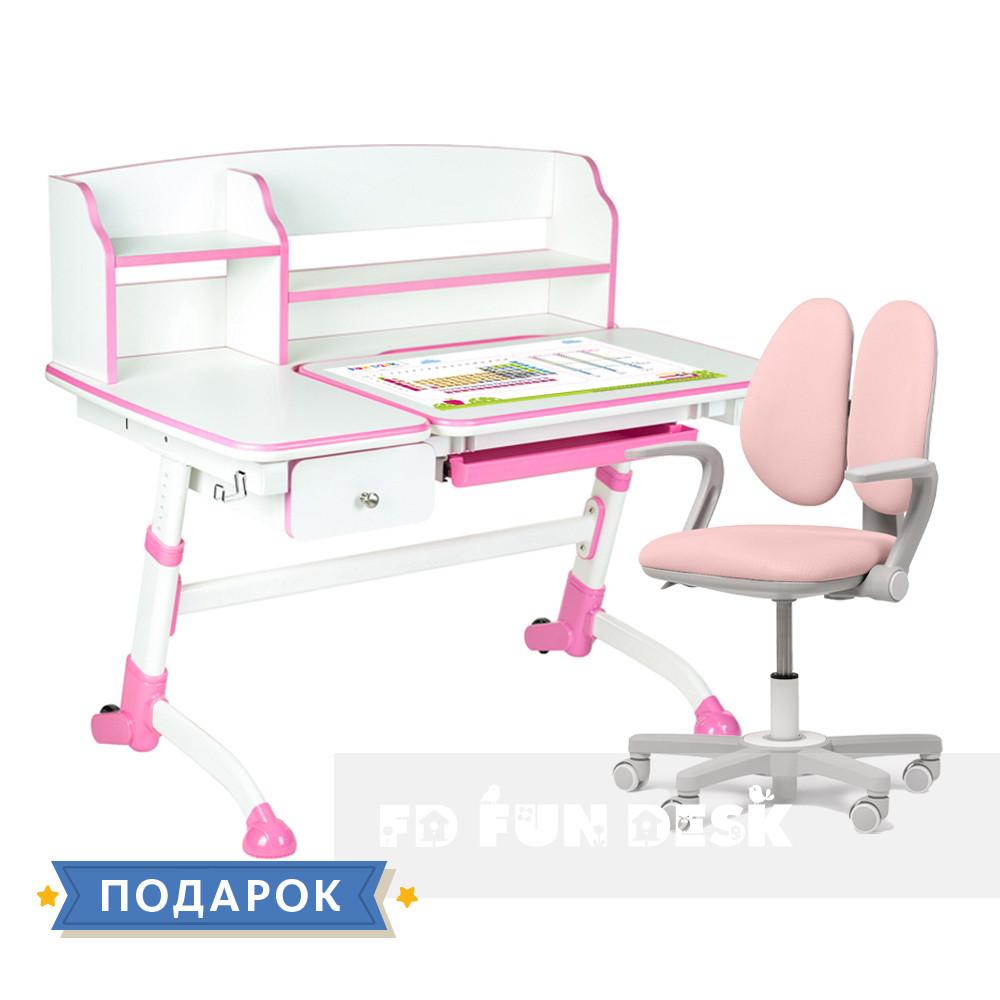 Універсальний комплект для дівчинки парта FunDesk Amare II Pink + крісло Fundesk Mente Pink з підлокітниками