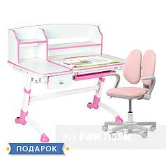 Универсальный комплект для девочки парта FunDesk Amare II Pink + кресло Fundesk Mente Pink с подлокотниками