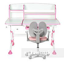 Універсальний комплект для дівчинки парта FunDesk Amare II Pink + крісло Fundesk Mente Pink з підлокітниками, фото 2