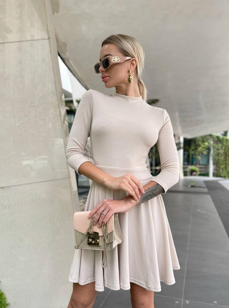 Лаконичное женское платье с юбкой-солнце из плотного джерси, 00890 (Бежевый), Размер 42 (S)