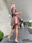 Коротке жіноче плаття, рукав три чверті, потайна змійка, 00891 (Мокко), Розмір 42 (S), фото 3
