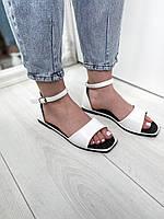 Женские белые босоножки с квадратным носком. Размеры 36-41, фото 1