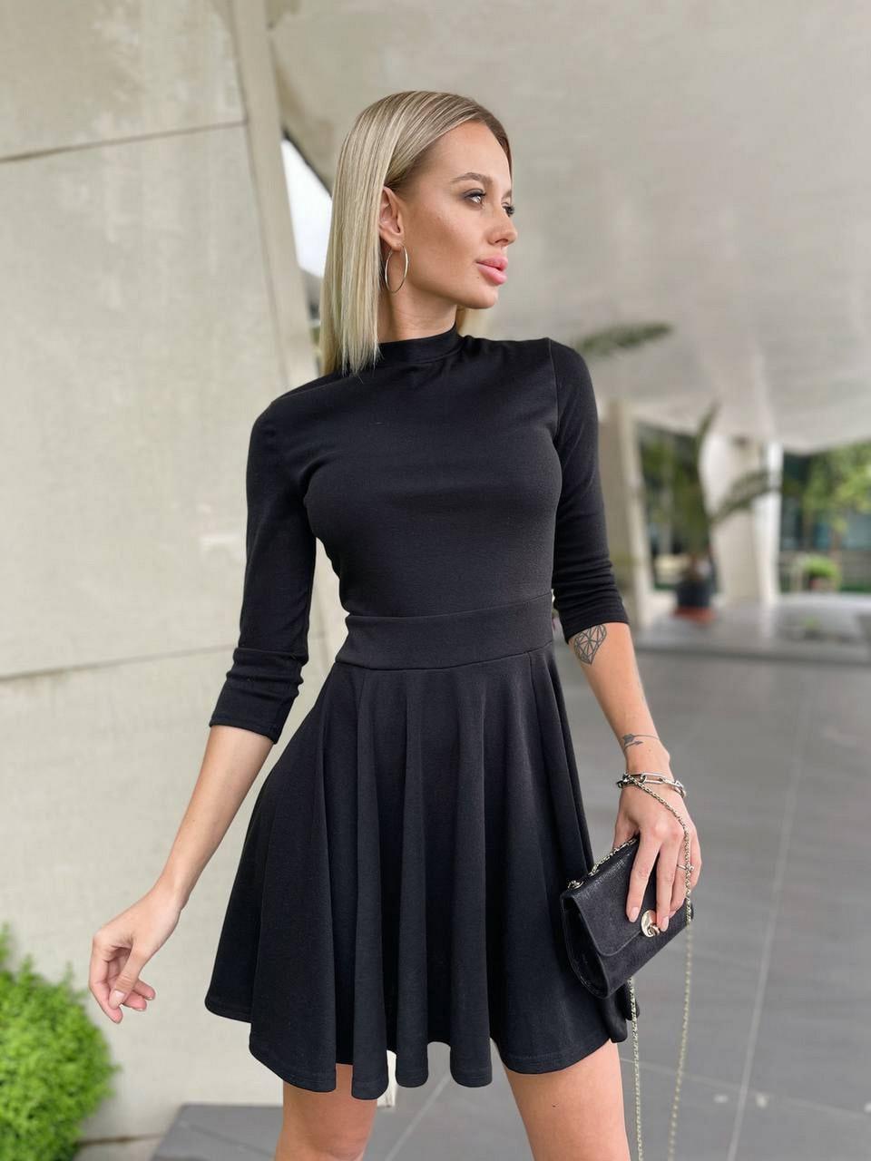 Молодежное короткое женское платье с рукавом три четверти, юбка-солнце, 00892 (Черный), Размер 42 (S)