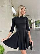 Молодежное короткое женское платье с рукавом три четверти, юбка-солнце, 00892 (Черный), Размер 42 (S), фото 2