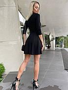 Молодежное короткое женское платье с рукавом три четверти, юбка-солнце, 00892 (Черный), Размер 42 (S), фото 4
