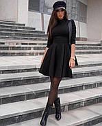 Молодежное короткое женское платье с рукавом три четверти, юбка-солнце, 00892 (Черный), Размер 42 (S), фото 6