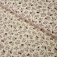 Ткань с мелким бордовым цветочком на бежевом фоне, ширина 160 см, фото 1