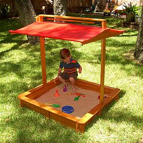 Детская деревянная песочница с навесом ТМ Sportbaby, размер 1.45х1.45х1.8м