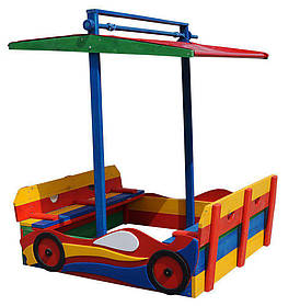 """Детская деревянная цветная песочница с навесом """"Машинка"""" ТМ Sportbaby, размер 1.45х1.45х1.6м"""