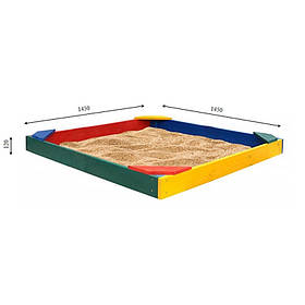 "Песочница деревянная детская разноцветная ""Ракушка"" ТМ SportBaby, размер 1.45х1.45х0.12м"