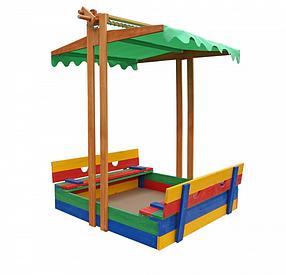 Детская деревянная цветная песочница с навесом ТМ Sportbaby, размер 1.5х1.45х1.8м