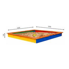Песочница разноцветная деревянная для детей ТМ SportBaby, размер 1.45х1.45х0.12м