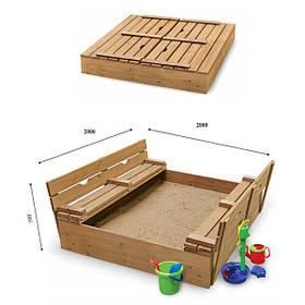 Детская деревянная ореховая песочница с откидной крышкой ТМ Sportbaby, размер 2х2х0.23м