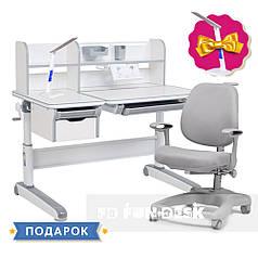 Детский комплект стол-трансформер FunDesk Libro Grey + ортопедическое кресло FunDesk Delizia Grey