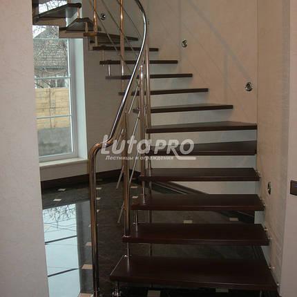 Лестница на больцах из ясеня и нержавейки, фото 2
