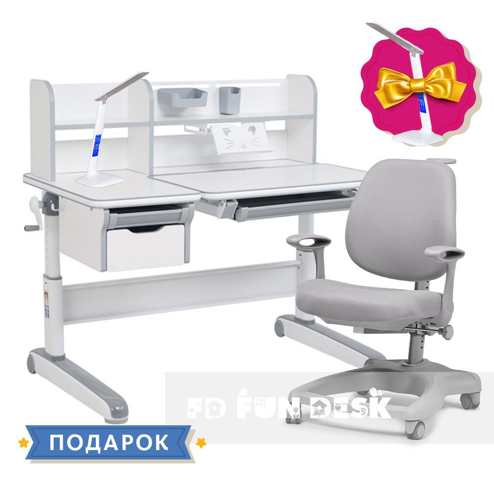 Дитячий комплект стіл-трансформер FunDesk Libro Grey + ортопедичне крісло FunDesk Delizia Grey