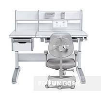 Дитячий комплект стіл-трансформер FunDesk Libro Grey + ортопедичне крісло FunDesk Delizia Grey, фото 2