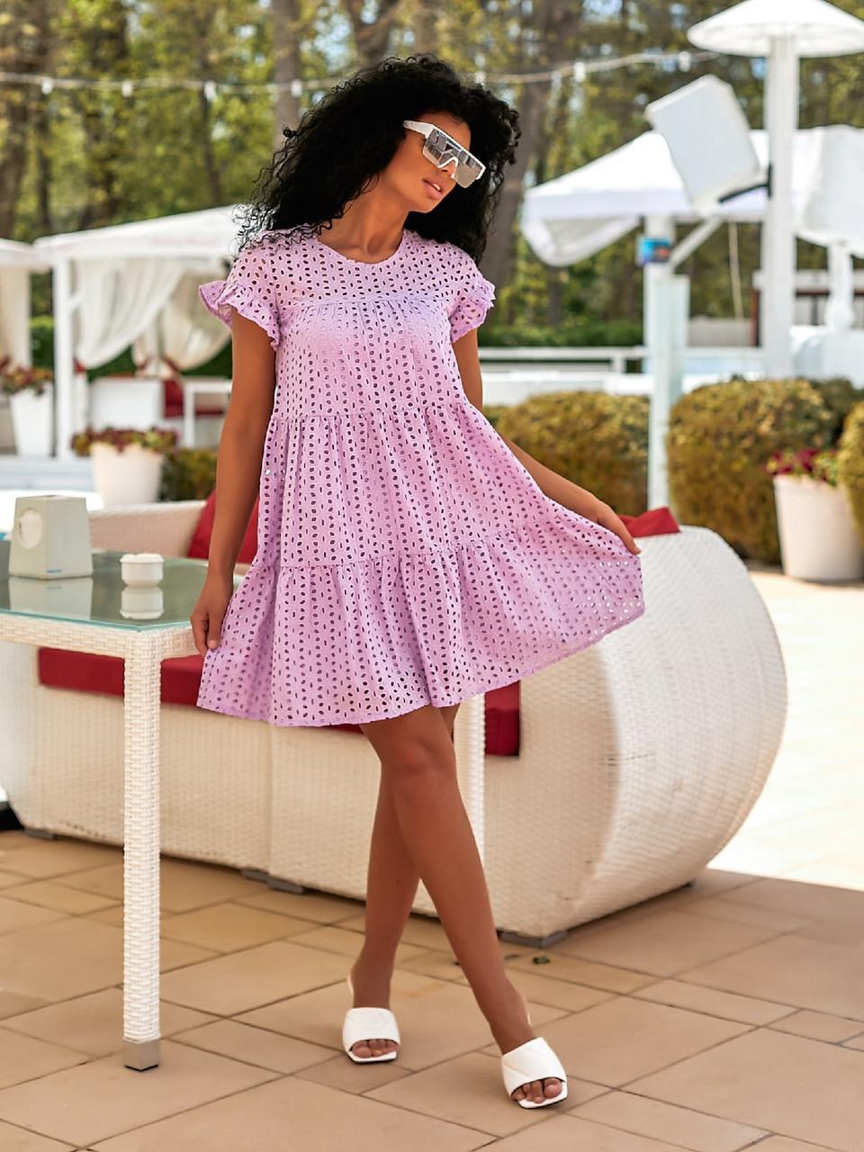 Легкое летнее женское платье из прошвы плюс подкладка, 00895 (Лиловый), Размер 44 (M)