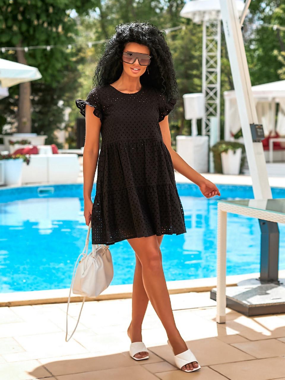 Короткое летнее платье из прошвы с коротким рукавом, 00897 (Черный), Размер 42 (S)