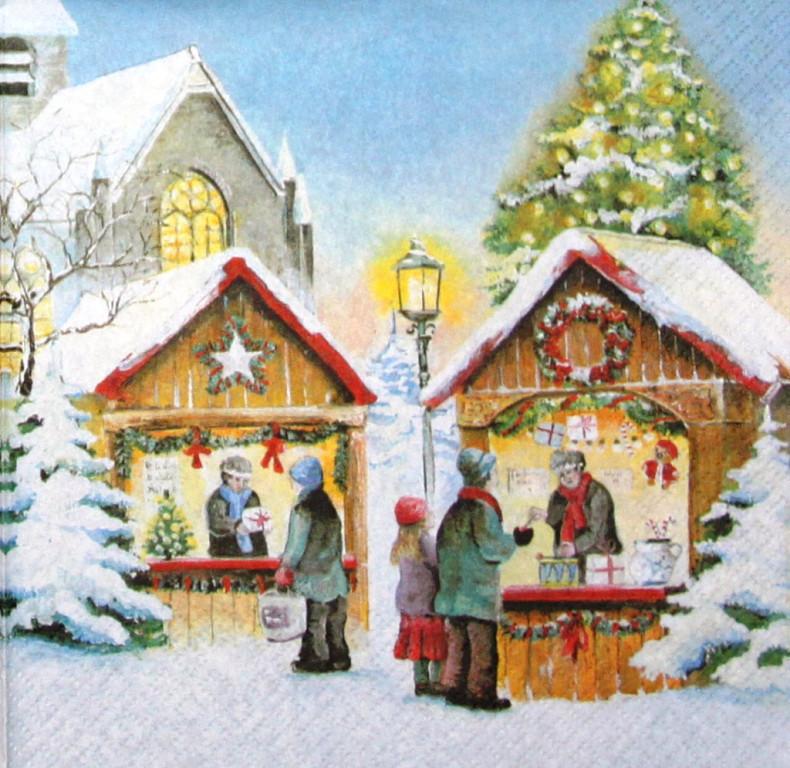 Серветка декупажна Різдвяний базар 5476