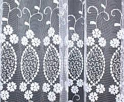 Отрез (1,4х2,8м.) остаток с рулона.Тюль фатин с вышивкой, цвет белый. Код 281ту 00-558