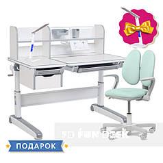 Детский комплект стол-трансформер FunDesk Libro Grey + кресло Fundesk Mente Dark Green с подлокотниками