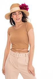Укороченная женская футболка кроп топ в рубчик с завязками на талии