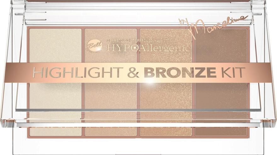 Палетка хайлайтеров і бронзера для особи Bell HYPOAllergenic Highlight & Bronze Kit by Marcelina 20 г