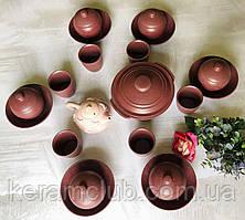 Набор посуды с гранитным покрытием Керамклуб на 6 персон розового цвета