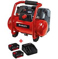 Набір Компресор акумуляторний Einhell TE-AC 36/6/8 Li OF Set + зарядний пристрій і 2 акумулятора 18V 3,0