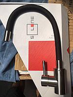Змішувач для кухні Solone EZA4-F090BL з нержавіючої сталі з гнучким виливом та гайкою, чорний