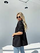 Стильний жіночий піджак без підкладали з робочими кишенями, 00899 (Чорний), Розмір 42 (S), фото 2