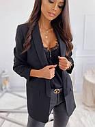 Стильний жіночий піджак без підкладали з робочими кишенями, 00899 (Чорний), Розмір 42 (S), фото 3