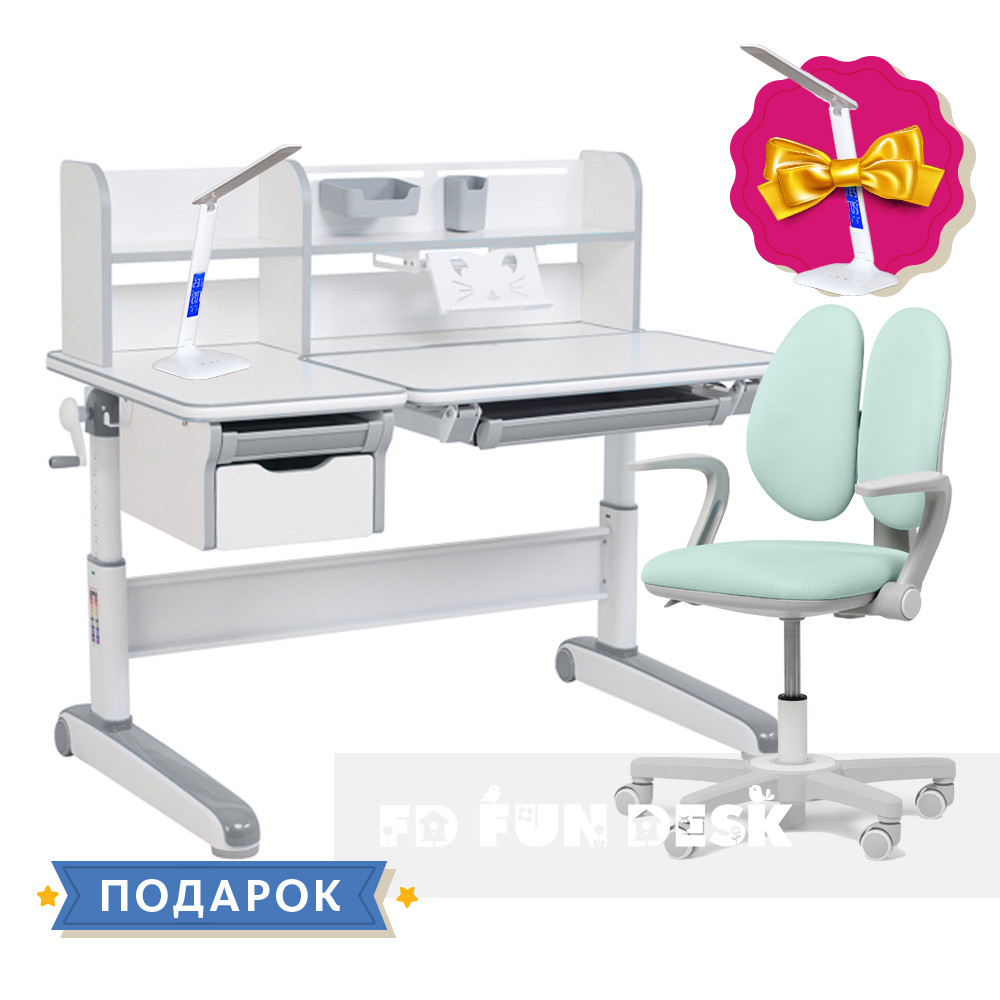 Дитячий комплект стіл-трансформер FunDesk Libro Grey + крісло Fundesk Mente Dark Green з підлокітниками